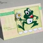 Детская открытка с бархатным лягушонком.